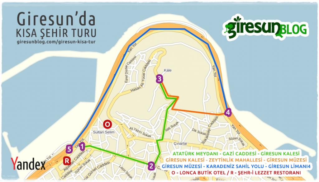 Giresun Kısa Şehir Turu Haritası
